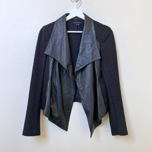 Theory Leather and Jersey Blazer